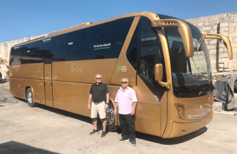 solar cells on tour buses in Malta